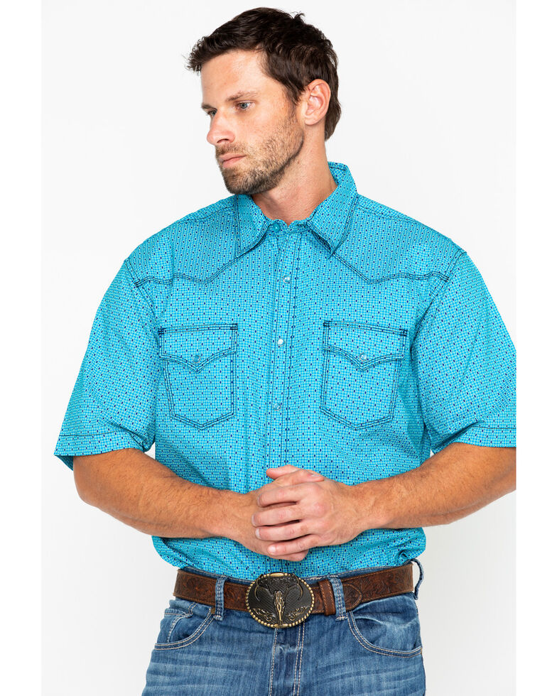Wrangler 20X Men's Navy Competition Geo Print Short Sleeve Western Shirt, Turquoise, hi-res