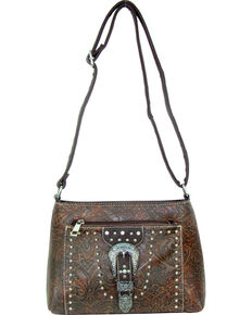 Savana Women's Tooled Embellished Crossbody Bag, Tan, hi-res
