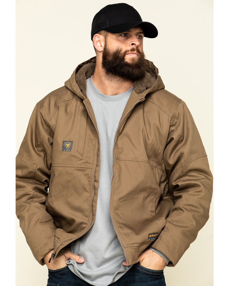 Ariat Men's Field Khaki Rebar Duracanvas Hooded Work Jacket - Big , Beige/khaki, hi-res