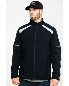 Hawx Men's Black Reflective Polar Fleece Moto Work Jacket - Tall , Black, hi-res