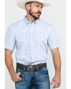Cody James Core Men's Blue River Plaid Short Sleeve Western Shirt , Blue, hi-res