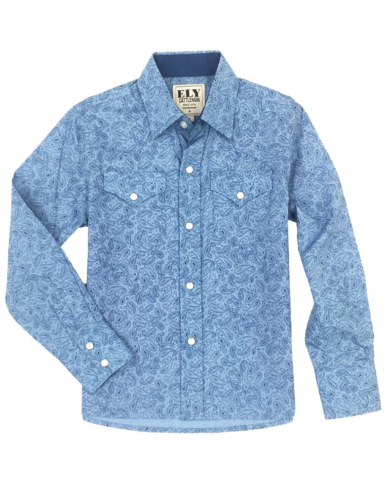Ely Cattleman Boys' Blue Paisley Print Long Sleeve Western Shirt , Blue, hi-res