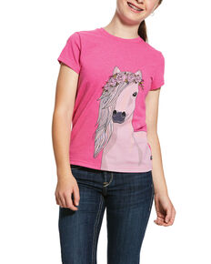 Ariat Girls' Festival Horse Tee, Pink, hi-res