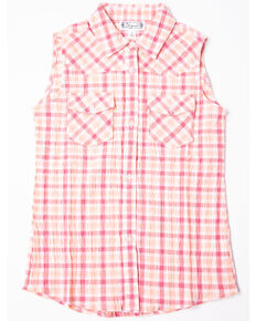 Shyanne Girls' Check Plaid Sleeveless Western Top, Pink, hi-res