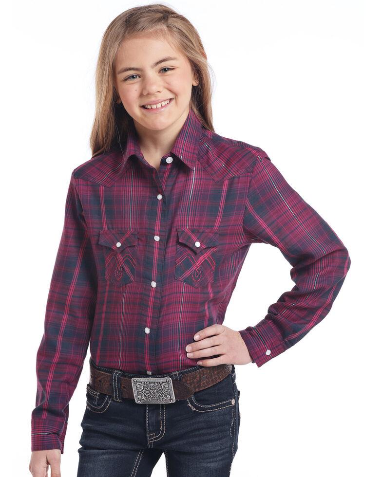 White Label by Panhandle Girls' Navy Lurex & Twill Long Sleeve Western Shirt, Navy, hi-res