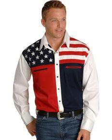 Scully Patriotic American Flag Colorblock Western Shirt - Big & Tall, Blue, hi-res
