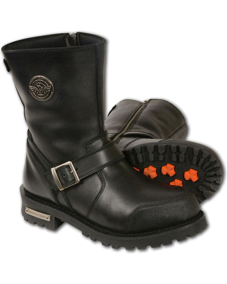 Milwaukee Leather Men's Black Classic Engineer Boots - Round Toe , Black, hi-res