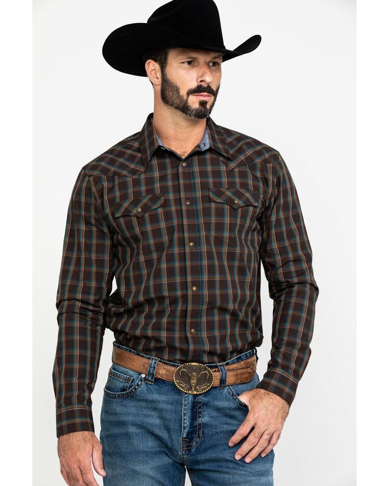 Cody James Men's True Grit Plaid Long Sleeve Western Shirt , Brown, hi-res