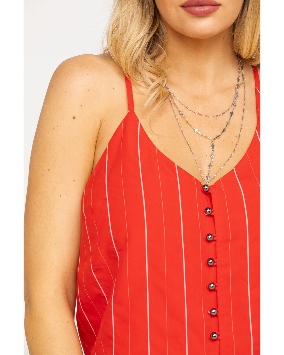 Miss Me Women's Red Pin Stripe Button Down Cami , Red, hi-res