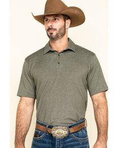 Ariat Men's Green Pique TEK Short Sleeve Polo Shirt , Green, hi-res