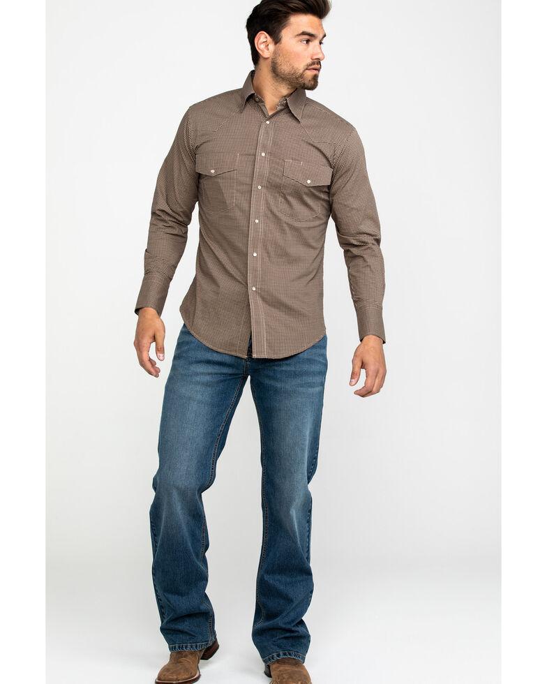 Wrangler Men's Wrinkle Resist Check Plaid Long Sleeve Western Shirt, Tan, hi-res
