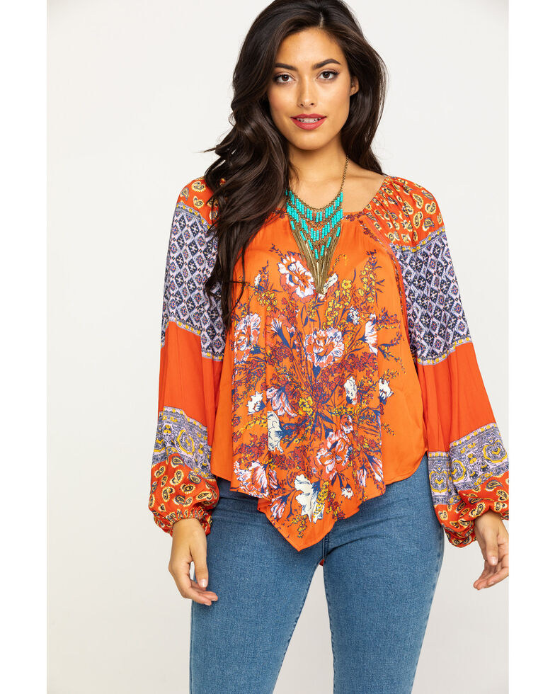 Free People Women's Positano Printed Off The Shoulder Blouse, Red, hi-res