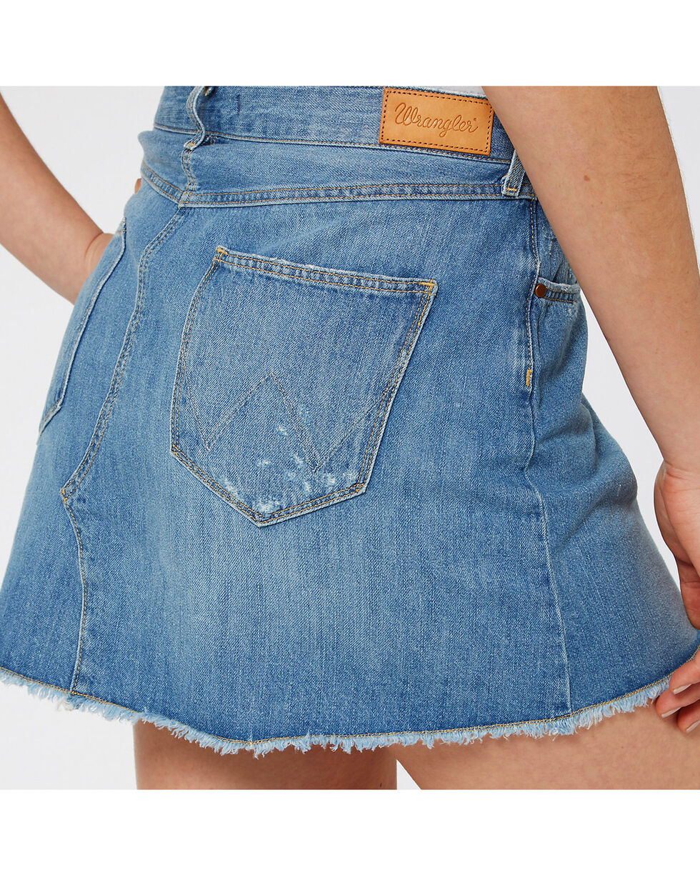 Wrangler Women's 70th Anniversary Cut-Off Mini Skirt, Blue, hi-res