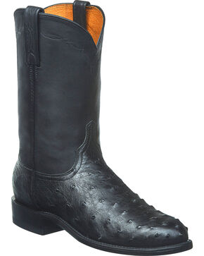 Lucchese Men's Handmade Zane Full Quill Ostrich Roper Boots - Round Toe, Black, hi-res