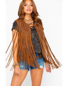 Cripple Creek Women's Distressed Fringe Leather Vest, Bark, hi-res