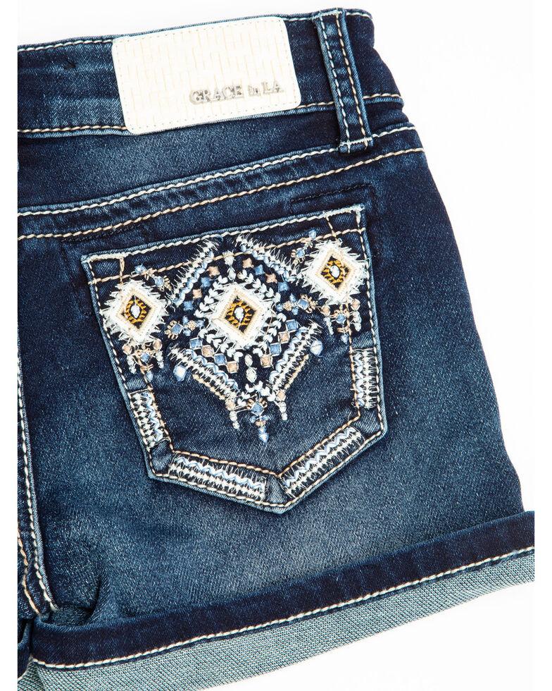Grace in LA Girls' Aztec Roll Hem Shorts, Blue, hi-res