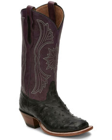 Tony Lama Women's Farron Black Western Boots - Wide Square Toe, Black, hi-res