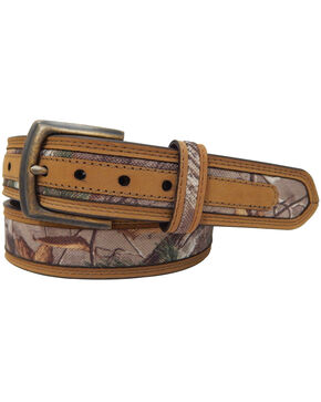 Realtree Men's Camo Canvas Belt w  Crazyhorse Trim, Camouflage, hi-res