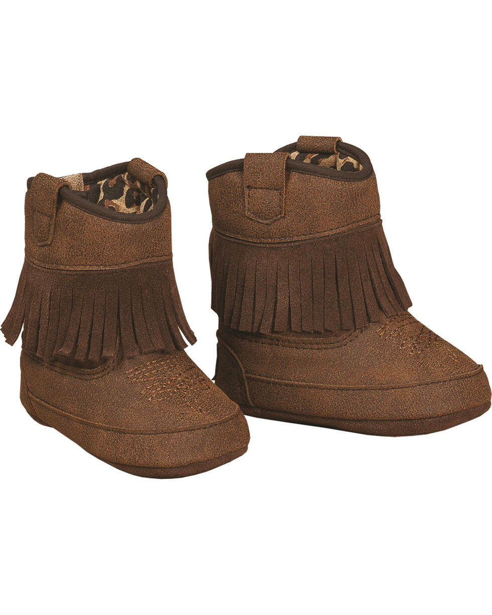 Blazin Roxx Brown Baby Bucker Annabelle Booties - Round Toe, Brown, hi-res