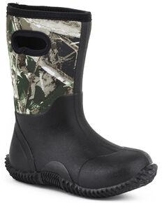 Roper Kid's Camo Neoprene Barnyard Work Boots, Black, hi-res