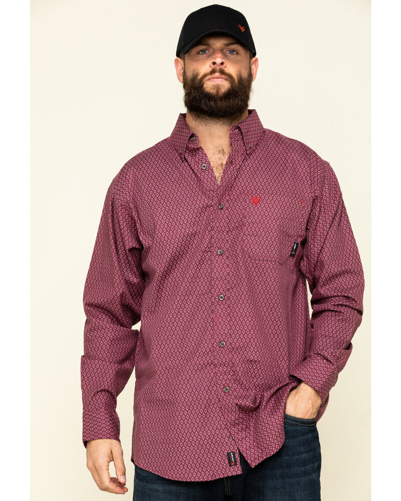 Ariat Men's FR Abbott Geo Print Durastretch Long Sleeve Work Shirt , Red, hi-res