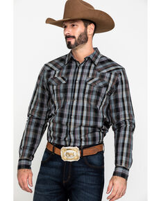 Cody James Men's Chapman Small Plaid Long Sleeve Western Shirt - Big , Black, hi-res