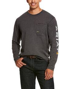 Ariat Men's Rebar Workman Logo Long Sleeve Work Shirt - Big & Tall, Charcoal, hi-res