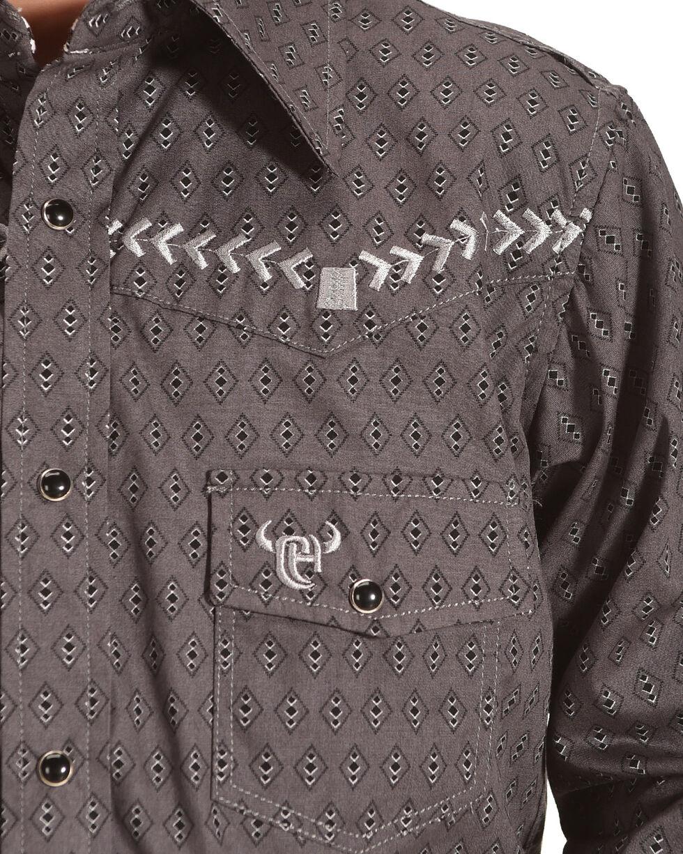 Cowboy Hardware Boys' Diamond Print Bronco Long Sleeve Snap Shirt, Dark Grey, hi-res