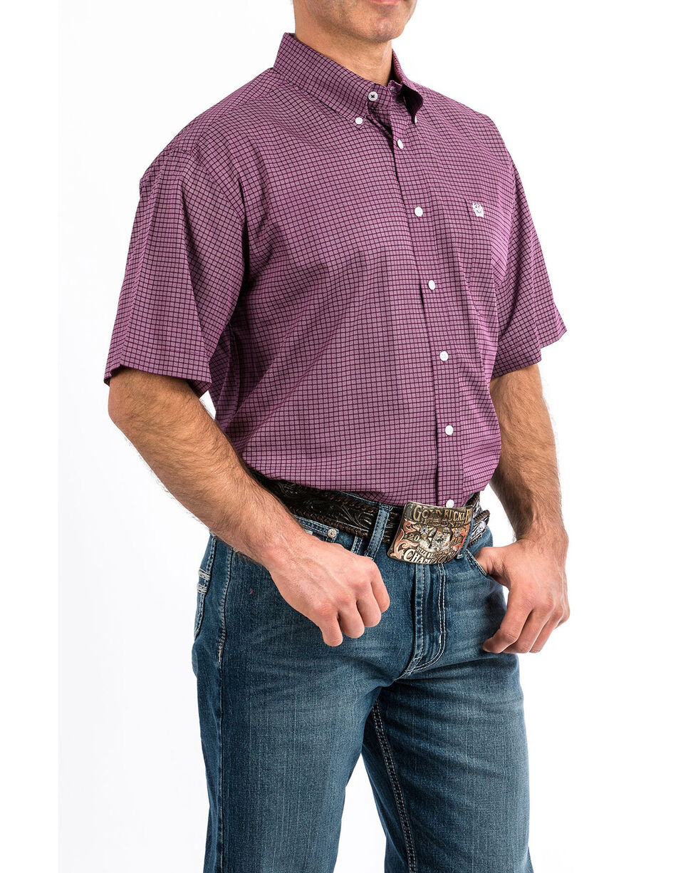 Cinch Men's Purple Check Print Button Short Sleeve Western Shirt , Purple, hi-res