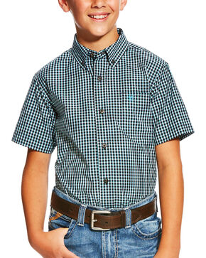 Ariat Boys' Lehman Pro Series Plaid Short Sleeve Shirt, Black, hi-res