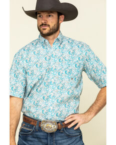 Amarillo Men's Desert Sky Paisley Print Short Sleeve Western Shirt , Blue, hi-res