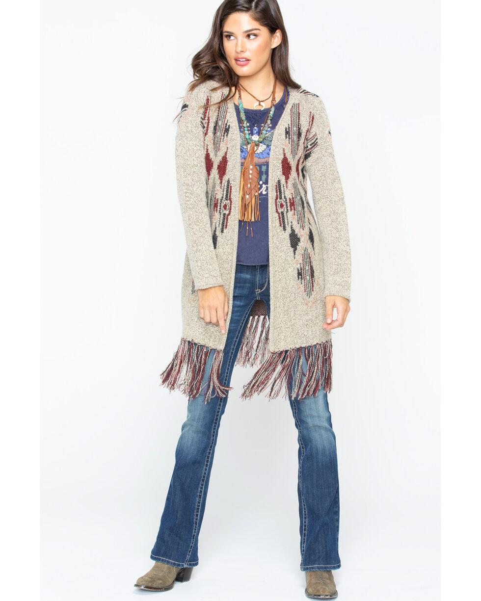 Shyanne Women's Aztec Kimino Fringe Sweater , Tan, hi-res