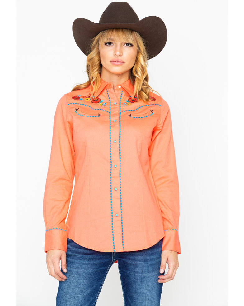 Wrangler Women's Coral Floral Embroidered Long Sleeve Western Shirt, Coral, hi-res
