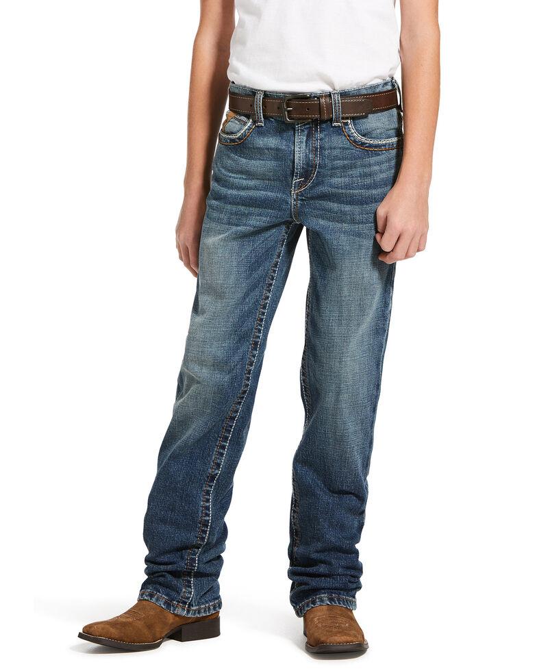 Ariat Boys' M5 Wave Stretch Slim Straight Jeans , Blue, hi-res