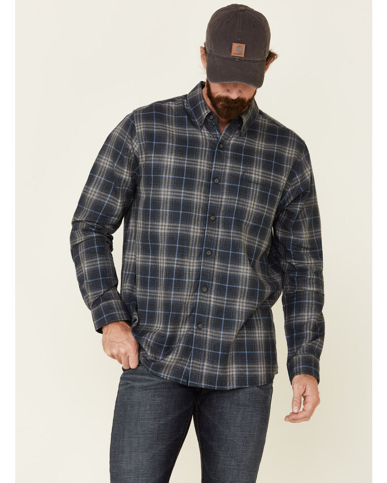 North River Men's Blue Bittersweet Large Plaid Long Sleeve Western Flannel Shirt , Blue, hi-res