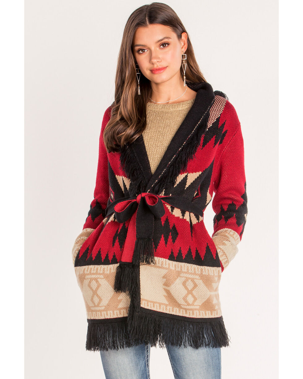 Miss Me Women's Aztec Tie Front Cardigan, Red, hi-res