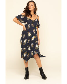 Jody of California Women's Navy Floral Cold Shoulder Slip Dress, Navy, hi-res