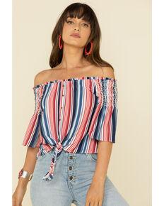 Rock & Roll Cowgirl Women's Americana Stripe Off Shoulder Crop Top, Red/white/blue, hi-res