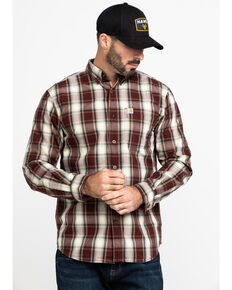 Carhartt Men's Essential Plaid Long Sleeve Work Shirt , Brown, hi-res