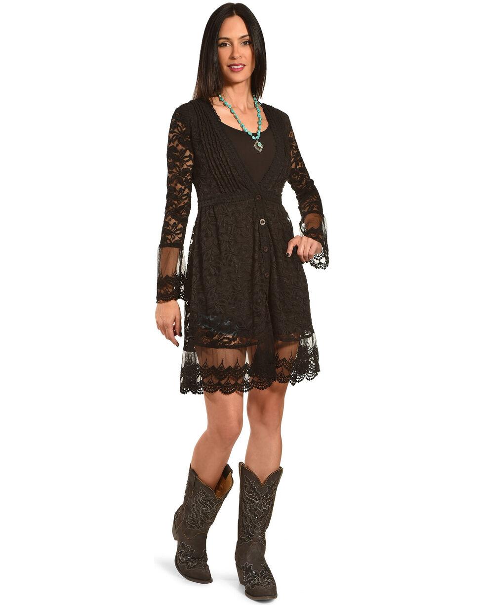 Young Essence Women's Long Lace Cardigan, Black, hi-res