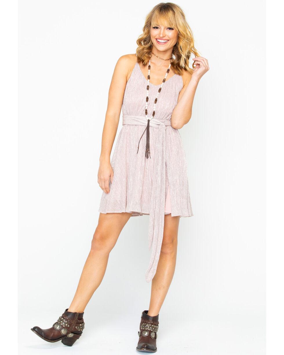Miss Me Women's Lurex Belted Dress, Blush, hi-res