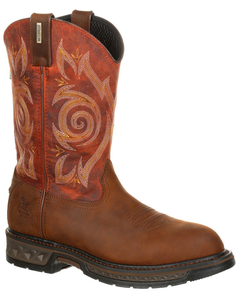 Georgia Boot Men's Carbo-Tec LT Waterproof Work Boots - Round Toe, Brown, hi-res