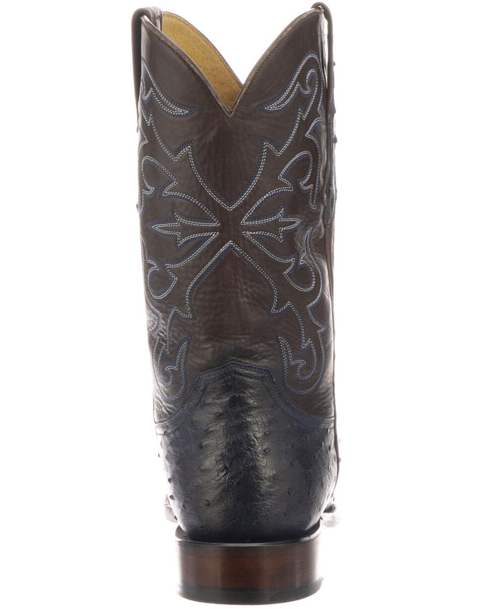 Lucchese Men's Hudson Exotic Western Boots - Medium Toe, Navy, hi-res