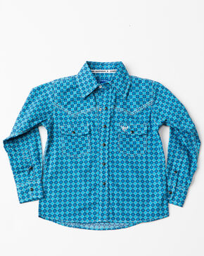 Cowboy Hardware Boys' Geo Print Long Sleeve Western Shirt , Blue, hi-res