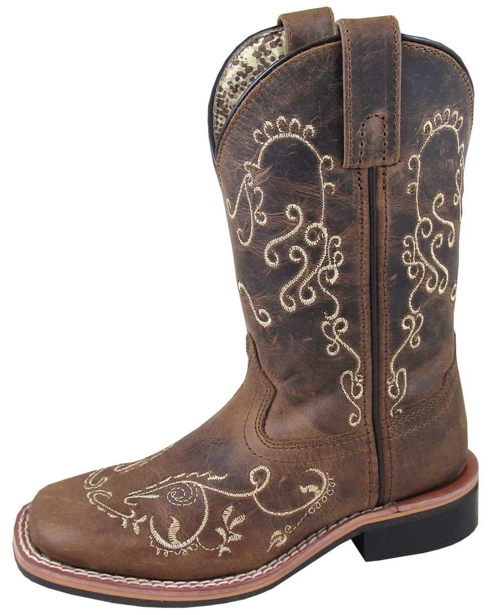 Smoky Mountain Youth Girls' Marilyn Western Boots - Square Toe, Brown, hi-res