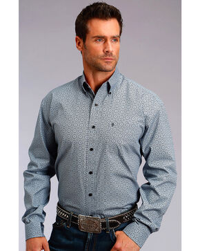 Stetson Men's Grey Geo Print Long Sleeve Western Shirt , Grey, hi-res