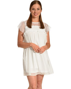 Polagram Women's White Lace Ruffle Sleeve Dress, White, hi-res