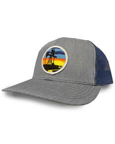 Oil Field Men's Sunset Logo Patch Grey Trucker Cap, Grey, hi-res