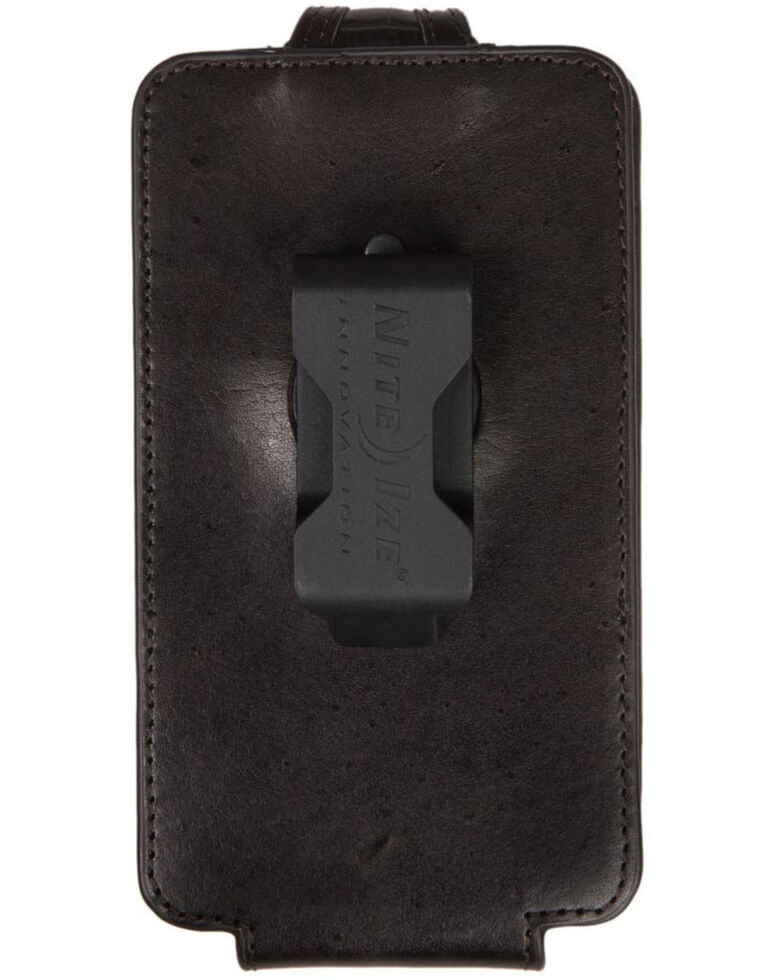 Ariat Men's Black Croc Print Large Cell Phone Case, Dark Brown, hi-res
