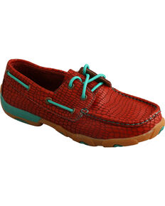 Twisted X Women's Pattern Lace-Up Driving Mocs, Red, hi-res
